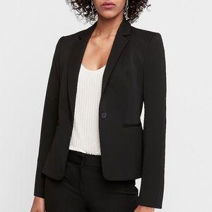 Express Black Notch Collar One Button Blazer